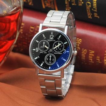 2018 Hot Sale Watch Men Fashion Black Noodles Steel Blue Glow Glass WristWatches Luxury Business relogio masculino reloj hombre 1