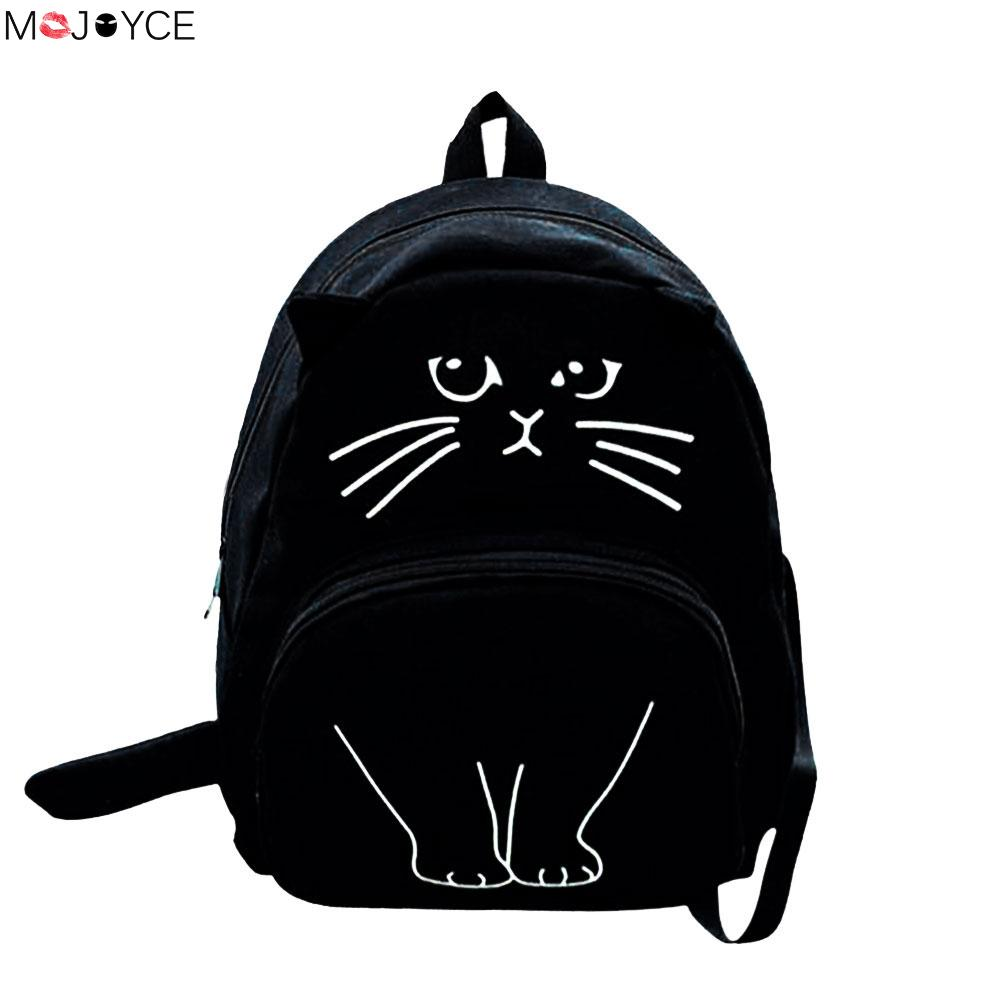 Women Canvas Backpack School Bags Cute Cat Printing Backpack For Teenagers Ladies Casual Lovely Rucksack Bookbags  womens fashion cute girls sequins backpack paillette leisure school bookbags leather backpack ladies school bags for teenagers