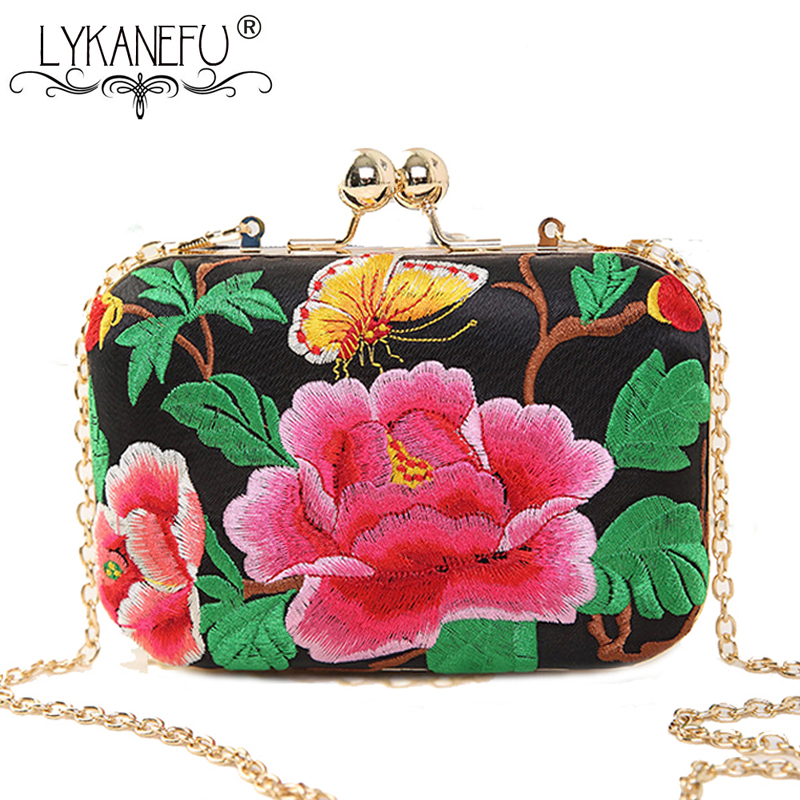 LYKANEFU Embroidery Flower Women Bag Evening Party Bags National Day Clutches Chain Shoulder Hand Bags Ladies Box Clutch Purse