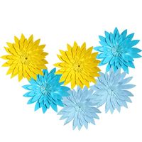HAOCHU 6PCS 12inch (30CM) Handmade Paper Flower Sky Blue Paper Pom Poms Home Garden Christening Boys Birthday Party Decoration