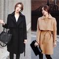 Новый 2016 Зима Корейской Моды Женщины Плащ Твид Топ плащ Плащ Overwear Топ Длинные Пояс Шерстяное Пальто Шерстяное пальто