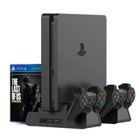 PS4 Vertical Stand for PS4 Slim/PS4 Pro/Regular PS4 Controller Charger with 3 Cooling Fan Games Storage Dual Charging Station