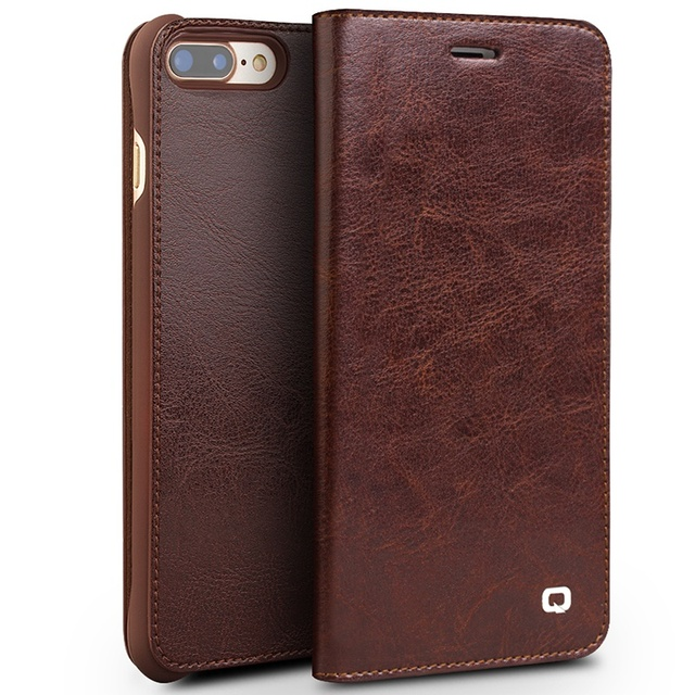 For iPhone 8 Fashion Classic Design Ultra-thin Phone Case Genuine Leather Cover Business Flip Shell for Apple iPhone 8plus 5.5