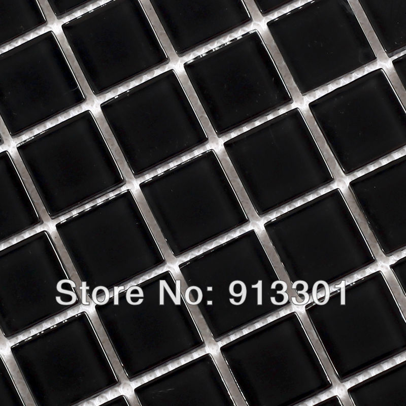crystal glass tile backsplash square black mosaic tiles border pattern
