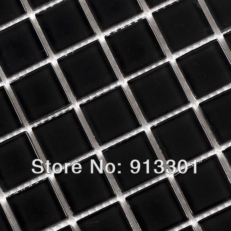 crystal glass tile backsplash square black mosaic tiles border ...