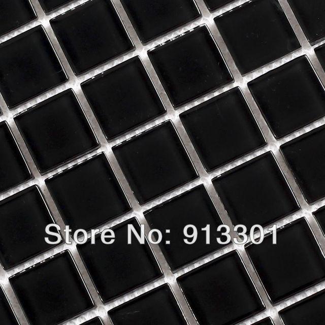 Crystal Glass Tile Backsplash Square Black Mosaic Tiles Border