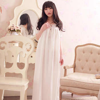 Women\'s Long Vintage Nightgown Home Dresses For Sleep Ladies Sexy Lace Summer Thin Sleepwear Ladies White Nightdress Lounge