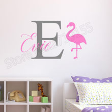 YOYOYU Personalised Flamingo Wall Stickers Childrens Kids Nursery Bedroom Mural Interior Cute Decoration Vinyl Decal ZW271
