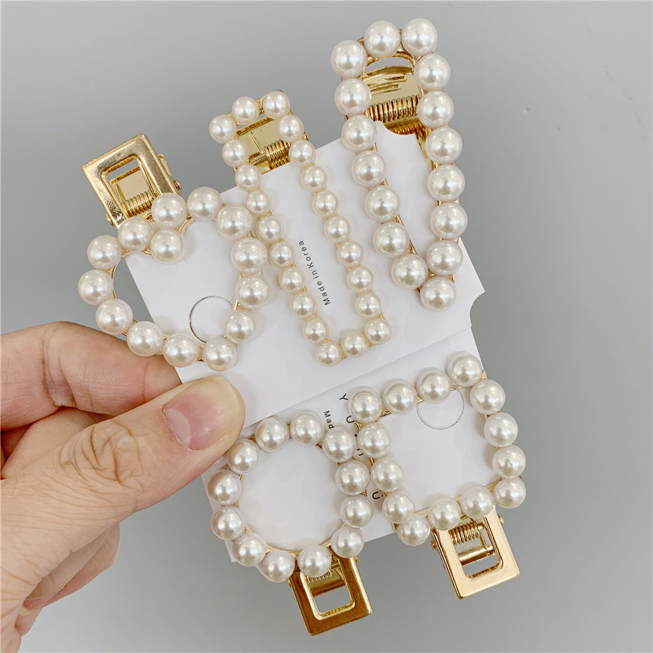 Trendy Pearl Simulated Beads Hair Clip Barrette Handmade Heart Stick Hairpin for Girls Hair Styling Accessories Wholesale 2019 in Hair Jewelry from Jewelry Accessories