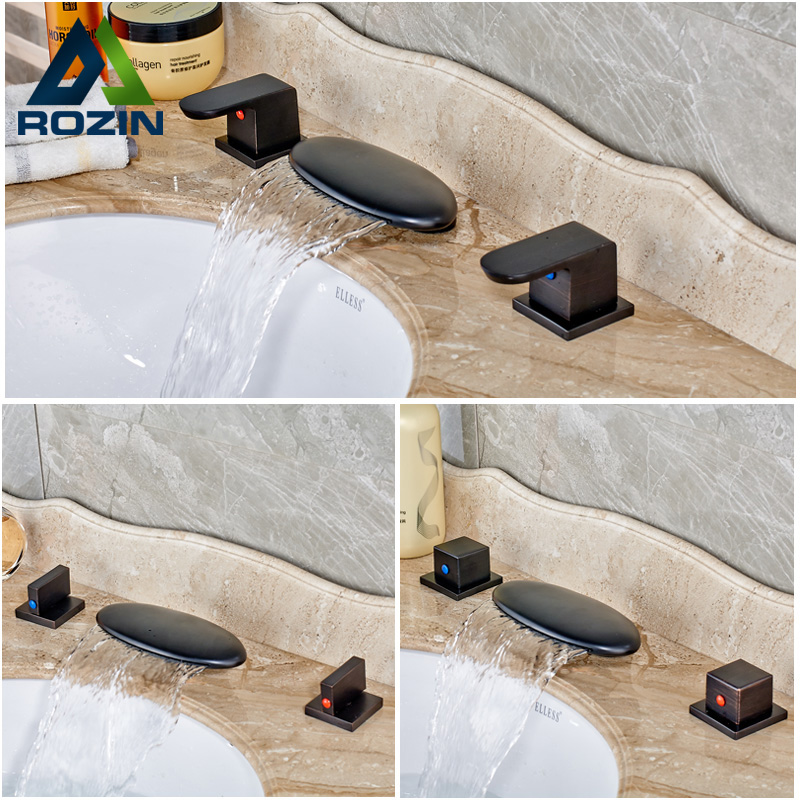Luxury Curved Spout Waterfall Bathroom Sink Mixer Taps Dual Handle Brass Bath Tub Sink Faucet Deck Mounted