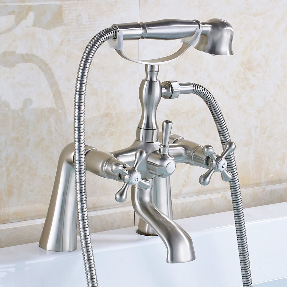 Brushed Nickel Bathtub Faucet Double Handles Mixer Shower Faucet with Hand Shower Deck Mount brushed nickel widespread 3 handles waterfall bathtub faucet mixer taps deck mount with handheld shower