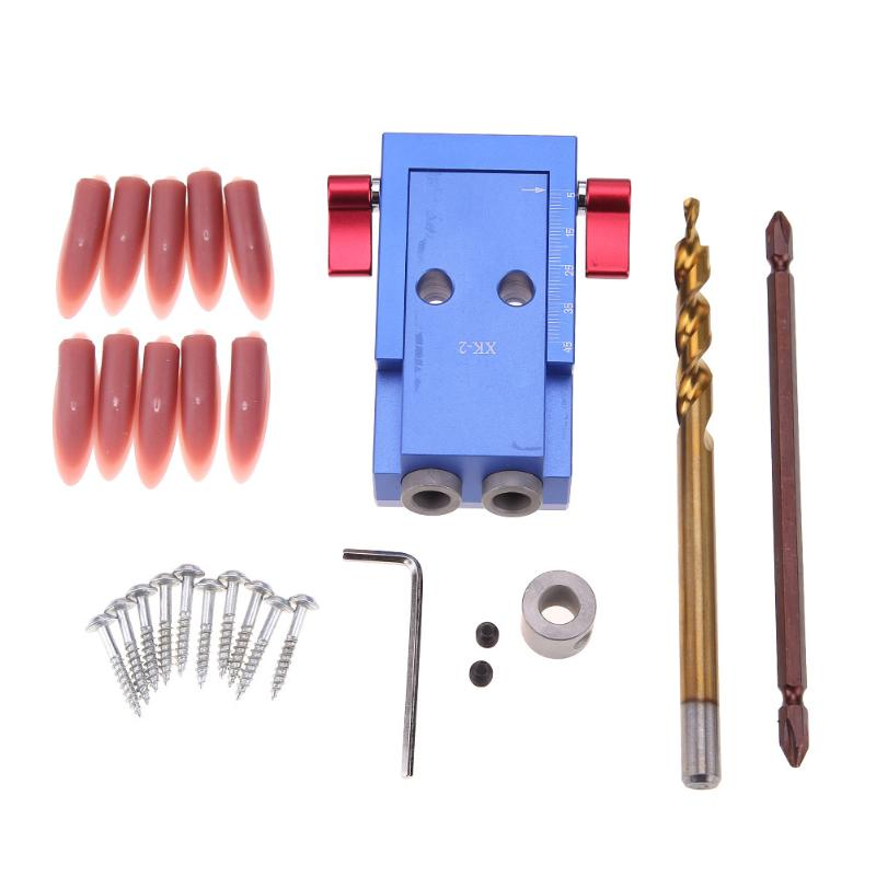 Mini Pocket Hole Jig Kit System For Wood Working Joinery + Step Drill Bit with Wrench Accessories Wood Work Tools Set huter r 250