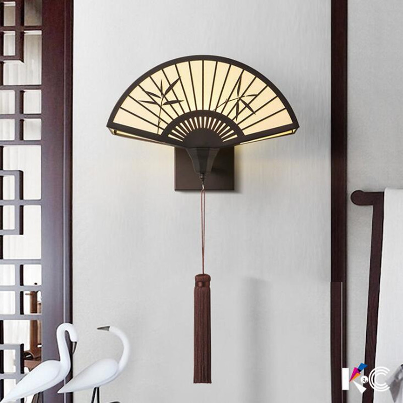 New Chinese Corridor Living Room TV Background Wall Bedroom Bedside Lamp Imitation Classical Fan-shaped LED Wall Light Fixture new high end classical chinese style acryl aluminum led mirror light for bathroom bedroom living room wall lamp 1026