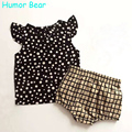 Humor Bear New Style Summer White Dots Baby Girls Clothes Set Cotton Suit Set Kids Clothing Infant Clothing