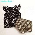 Humor bear puntos blancos del nuevo estilo del verano de los bebés ropa fijada algodón traje conjunto ropa de niños ropa infantil