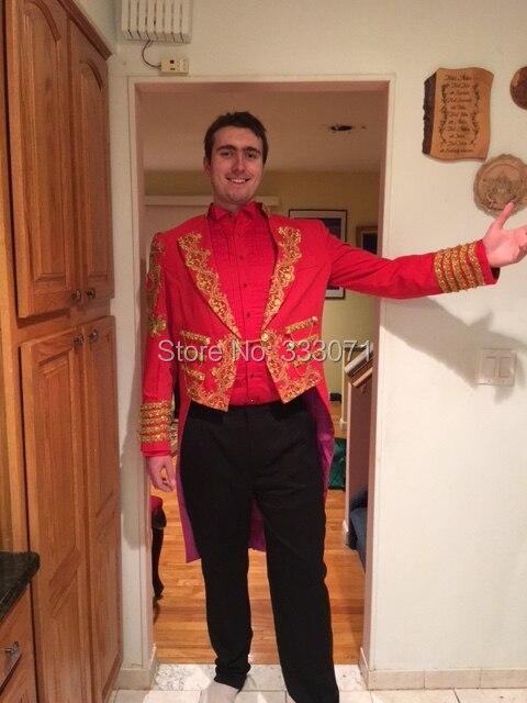 Фильм подходит красный костюм для шафера жениха смокинг мужской золотой вышивка костюм с лацканами жениха/Фрак Свадьба/выпускной маг (курт