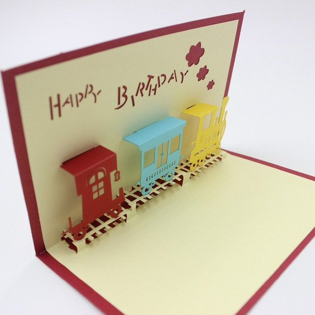 10pcs 3d laser cut folding birthday card funny children train 10pcs 3d laser cut folding birthday card funny children train birthday cards with envelop happy birthday bookmarktalkfo Gallery