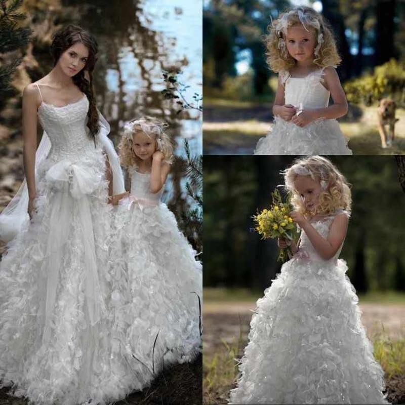 Long White Feathers   flower     girl     dresses   for weddings Party organza Baby   girl     flower     girl     dresses   vestido infantil festa daminha