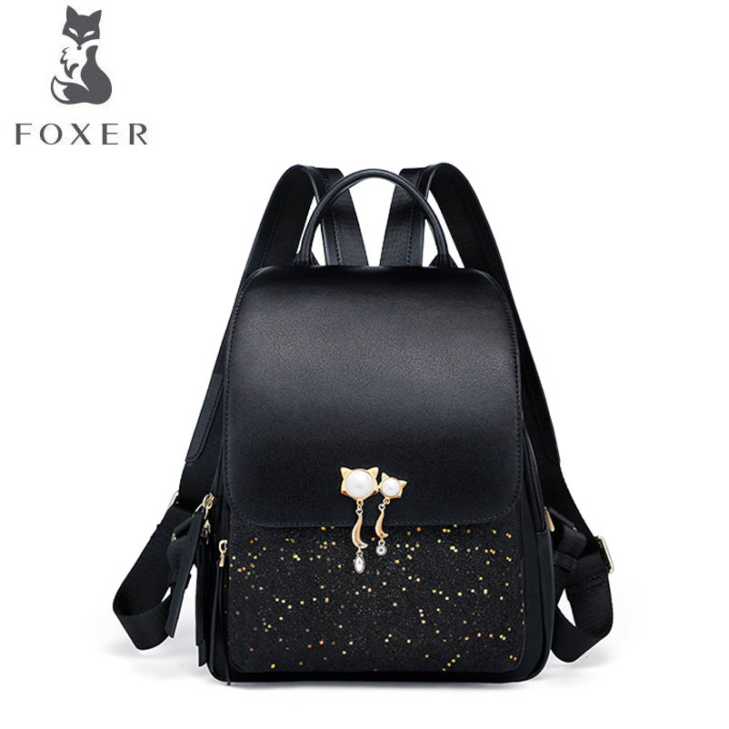 FOXER hot 2018 new brand women leather bag fashion Cowhide with pu Simple leather backpack women leather backpack все цены