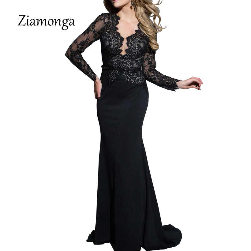 9ca6bf6dd3c93 Ziamonga Elegant Long Sleeve Robe De Soiree Longue Black Lace Evening  Dresses Long 2018 Cheap Prom Dresses Party Gown