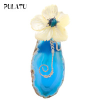 Pulatu Natural Blue Stone Women Brooches Natural Shell Crystal Inlay Flowers Handmade Shell Brooch Pins Party New Year Gifts