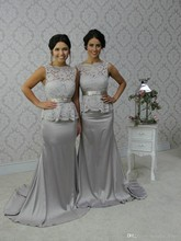 Gray 2017 Cheap Bridesmaid Dresses Under 50 Mermaid Hig Collar Lace Backless Long Wedding Party Dresses