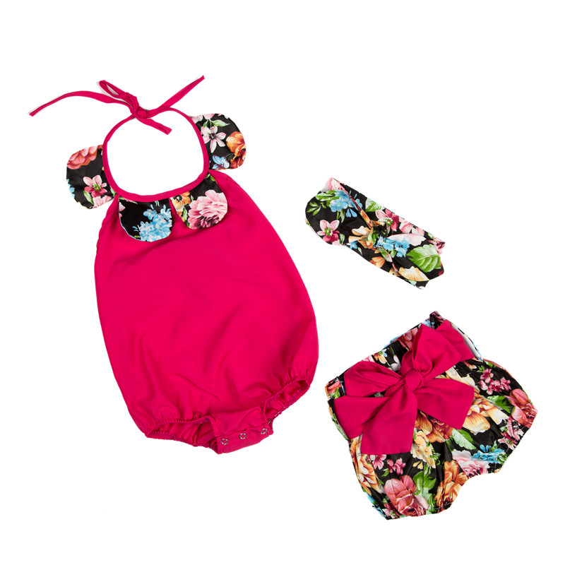 Lovely baby romper set girls jumpsuit cute kids clothes set for baby girl boy suit romper shorts trousers with bow headband