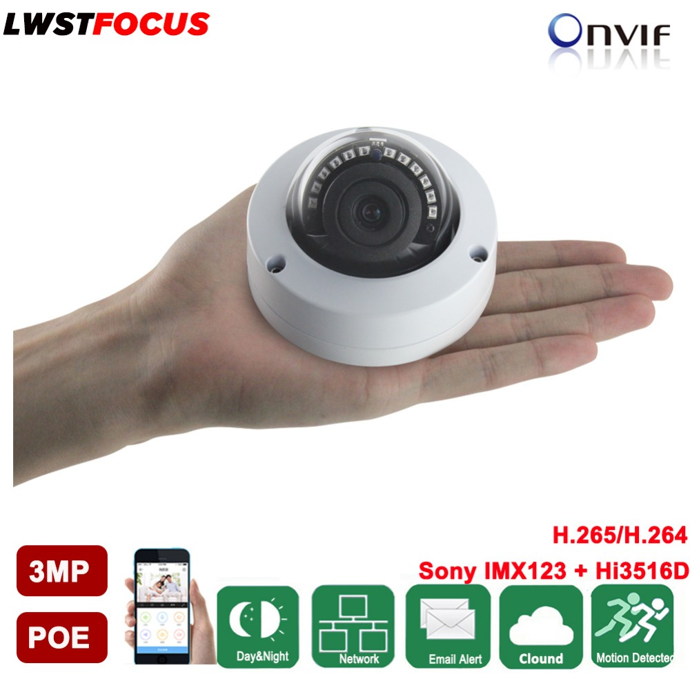 LWSTFOCUS Mini IP Camera 3MP Network Mini Dome Camera 3.6mm/2.8mm lens Support FREEIP Remote View Hikvision Private Protocal POE a private view