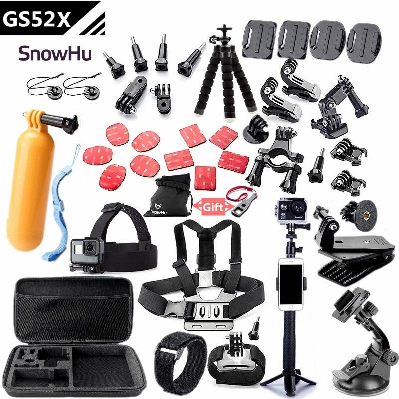 SnowHu Für Gopro zubehör set halterung für go pro hero 7 6 5 4 3 schwarz für xiaomi yi 4 K action kamera zubehör fall GS52