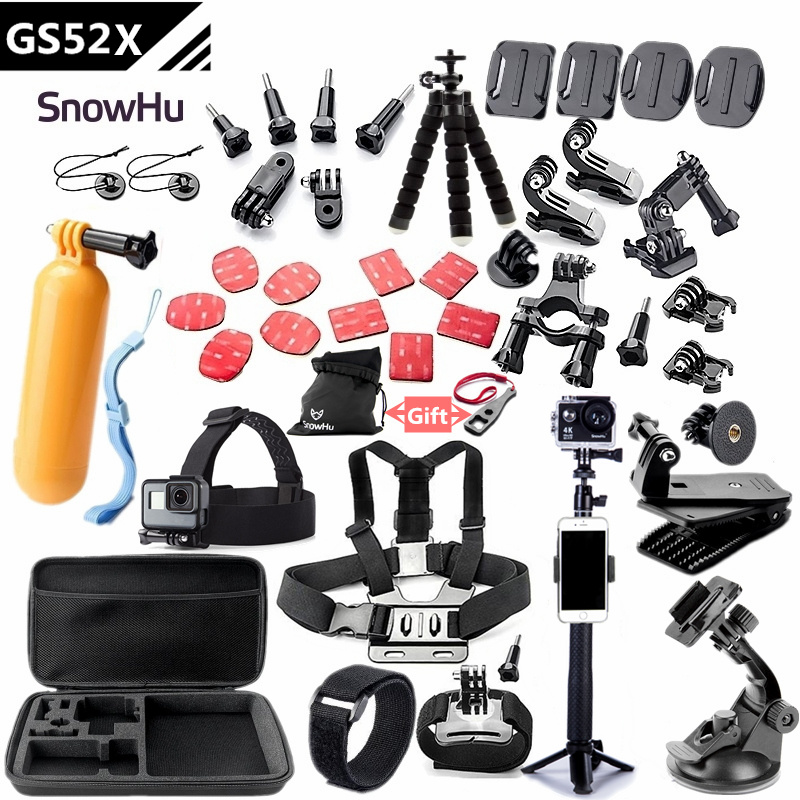 SnowHu para Gopro accesorios de montaje para ir pro hero 7 6 5 4 3 negro para xiaomi yi 4 K Cámara de Acción accesorios GS52