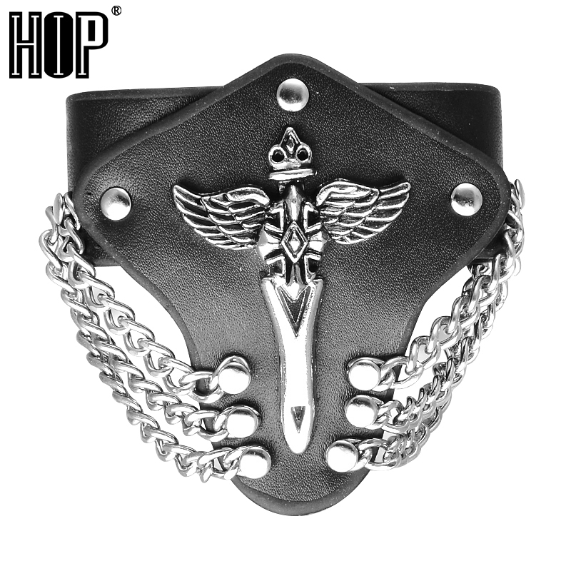 HIP Creative Unique Angel Sword Male Bracelets Metal Chain Gothic Rock Wide Cuff Leather ...