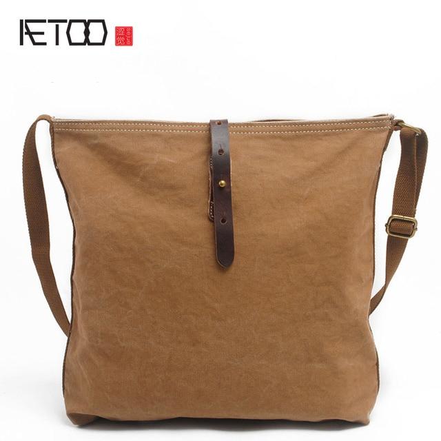 117ed6e1cc AETOO new winter men s new simple shoulder bag canvas large messenger bag  canvas vintage Japanese style