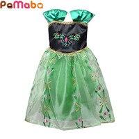 PaMaBa Snow Queen Princess Anna Cosplay Elegant Costume Little Girl S Halloween Dress Up Children Kids