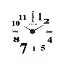 1.5V AA Battery DIY Wall Clock 3D Mirror Surface Sticker Home Decoration Acrylic Glass Decal Large Watch Modern Design Stickers(China)