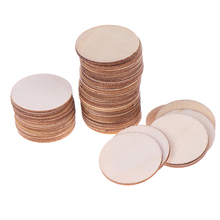 50Pcs Natural Round Blank Wood Pieces Slice Unfinished Wooden Discs For Crafts Centerpieces DIY Christmas Ornaments