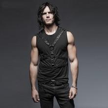 Steam Punk Rivets Men Sleeveless Vest Tops Spring Summer Black Casual Tank Male Tee Shirts