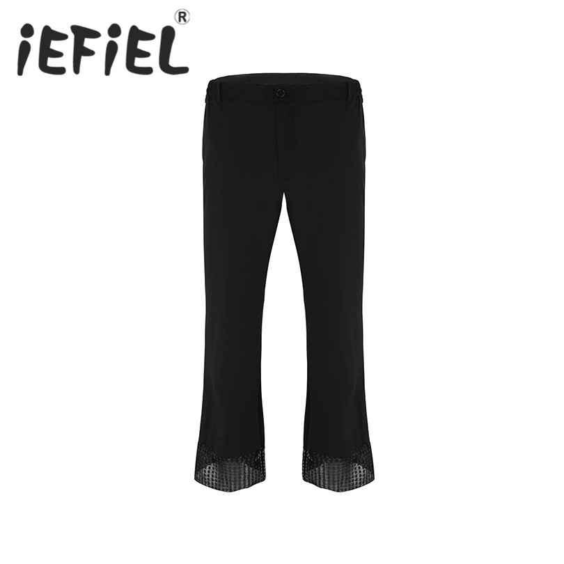 Fashion Adults Gay Mens Disco Pants with Sequin Cuff Bell Bottom Flared Long Pants Dude Costume Trousers for Stage Performance