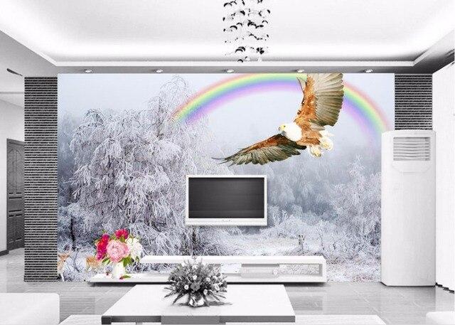 Murale Carta Da Parati Per soggiorno 3D Winter scenery Foto Murale ...