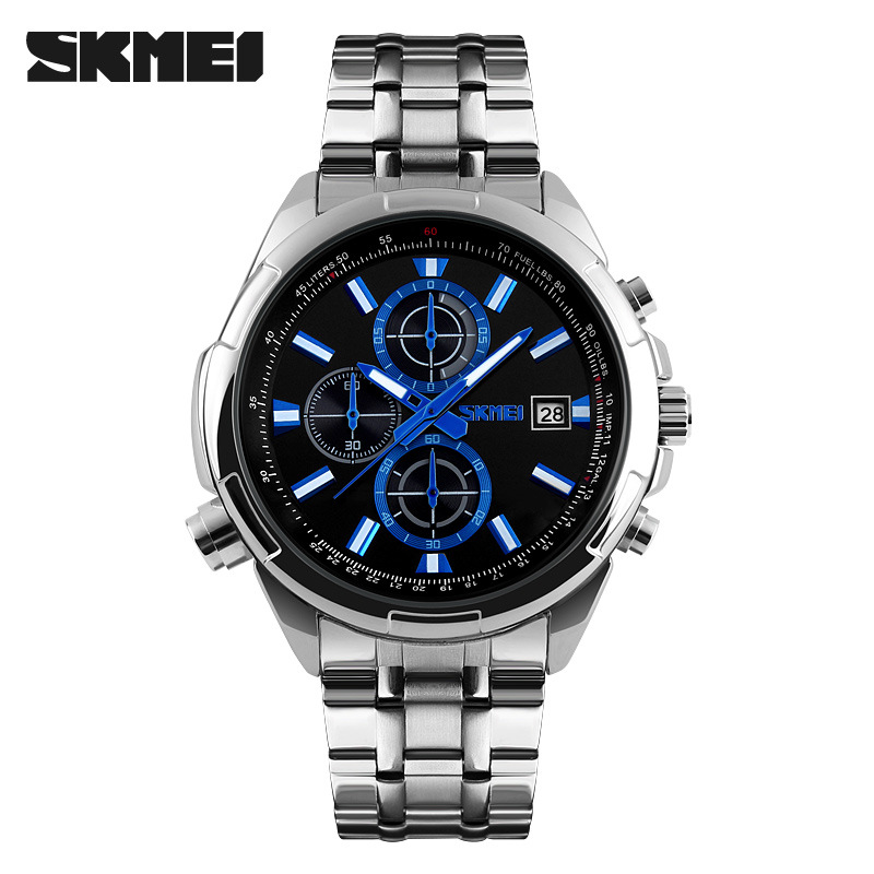 Skmei Top Luxury Brand Chronograph Men Sports Watches Full Steel Men Watch Analog Date Waterproof Casual Business Quartz Watches 2016 biden brand watches men quartz business fashion casual watch full steel date 30m waterproof wristwatches sports military wa