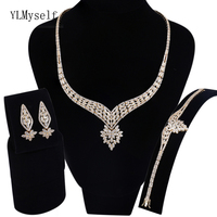 Luxury big party jewellery sets Gold color cz crystal Necklace+Bracelet+earrings+free gift ring Large jewelry set