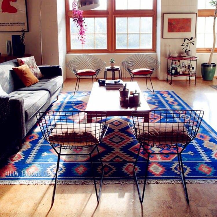 Moroccan Ethnic Style Handwoven Wool KILIM Living Room Tea Table Sofa Thin CarpetMoroccan Ethnic Style Handwoven Wool KILIM Living Room Tea Table Sofa Thin Carpet