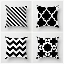 Fuwatacchi Regular Connection Grid Printed Pillow Cover Black and White Geometric Style Cushion Cover Sofa Car Decor Pillowcases цена в Москве и Питере