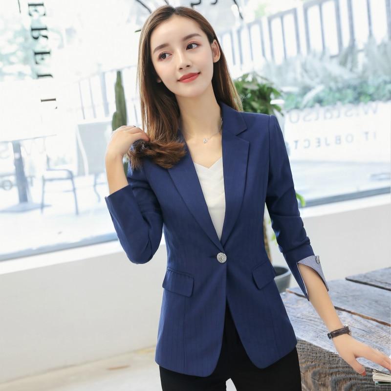 2018 autumn Slim Fit Women Formal Jackets Office Work Ladies Blazer Coat  Hot Sale Fashion plus size S-4XL black navy blue b3f3f9f457de