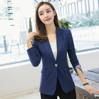 2018 herbst Slim Fit Frauen Formale Jacken Büro Arbeit Damen Blazer Mantel Heißer Verkauf Mode plus größe S 4XL schwarz & navy blau-in Blazer aus Damenbekleidung bei