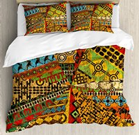 African Duvet Cover Grunge Collage Ethnic Motifs Tribal Ancient Traditional Art Ornate Geometric Decorative 4 Piece Bedding Set