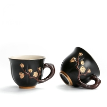 Handpainted Ceramic Tea Cup High Quality 3D Plum Pattern Teacup Japanese Style Kung Fu Set Hand Made Porcelain Cups