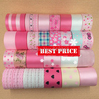 high quality 32 yards mix size pink satin ribbon set grosgrain ribbons organza ribbon DIY bows accessories lace