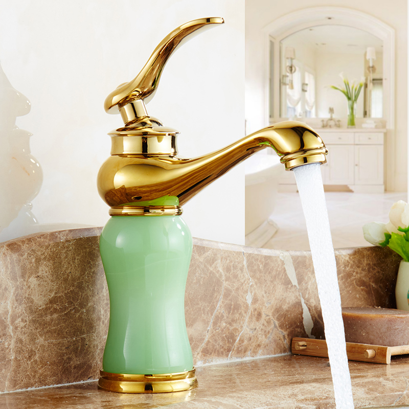 European jade type bathroom sink basin faucet gold plated, Magic Lamp style brass wash basin faucet mixer water tap hot and cold bathroom sink basin faucet mixer water tap toilet wash basin faucet hot and cold brass single hole basin faucet chrome plated