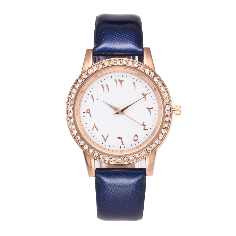 Ladies Læder Quartz Watch High Quality Arabiske Nummer Rhinestone - Dameure - Foto 3