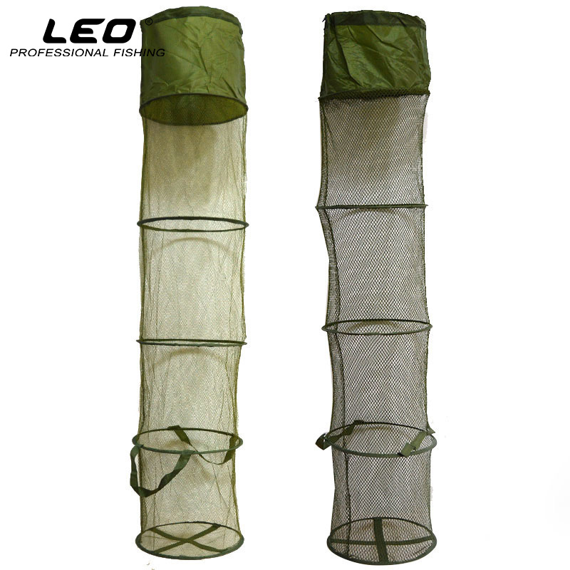 LEO 5 слоев складной рыболовной корзины Dip Net Рыболовная клетка, чтобы рыба была живой в воде 30см * 140см Рыболовные принадлежности Инструмент